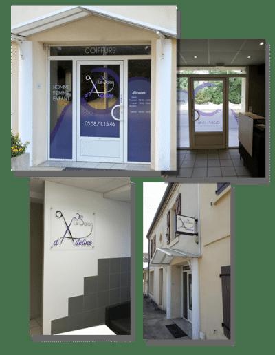 Habillage vitrine du Salon d'Adeline à Haut Mauco