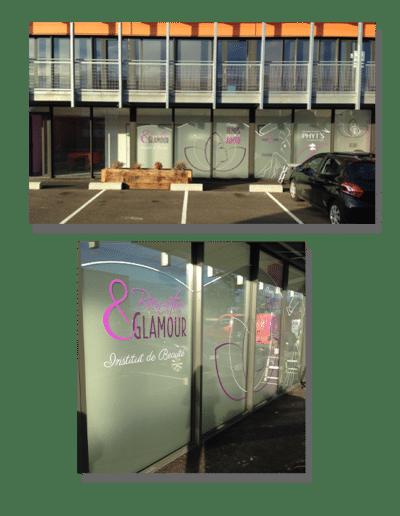 Habillage vitrine Bien Etre & Glamour à Saint Pierre du Mont